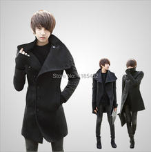 2014 New Winter mens long coat Men's wool Coat Turn down Collar sing Breasted men trench coat 49