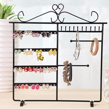 JAVRIK 33x30cm Earrings Necklace Ear Studs Jewelry Display Rack Metal Stand Organizer Holder 10 Hooks& 48 Holes
