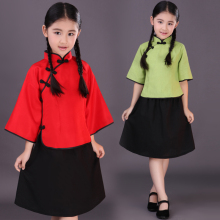 New Children Chinese Traditional Suit Blouse + Skirt Chinese School Uniform Group Singing Wear The Republic of China Costume 16(China)