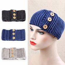 1pcs Fashion blue Winter Women Ear Warmer Fashion Crochet Headband Knitted Hairband