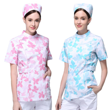 2017 New Design Flower Print Nurse Scrub Sets Women Summer Short Sleeve Maternity Matron Clothing Housekeeping Work Uniform(China)