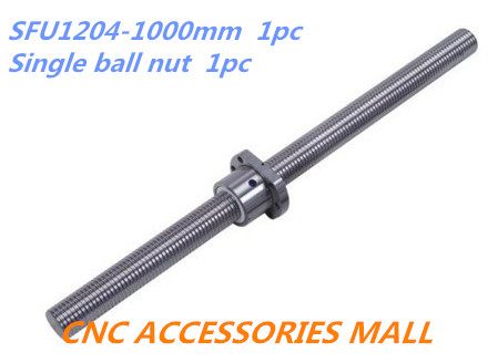 1pc 12mm Ball screw SFU1204 length 1000mm plus 1pc Single Ballnut for cnc parts<br>