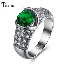 Tuker Brand Fish spit beads Rings Clear CZ Gold Color Rings for Women Fashion Jewelry Wholesale