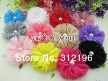 MyAmy 40pcs/lot Vintage Chiffon Shabby Flower With Pearl DIY Hair Fascinator Photography Prop Kids Hair Accessories