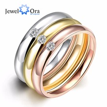 9MM Width Multicolor Women's Titanium Steel Zircon Ring Fashion Accessories Party Jewelry 3Pcs/Set Cheap Gift(JewelOra RI101984)