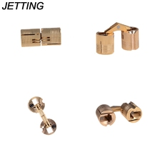 JETTING 4PCS 8mm Copper Barrel Hinges Cylindrical Hidden Cabinet Concealed Invisible Brass Hinges Mount For Furniture Hardware