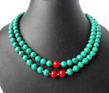 2 strands Round Blue Turquoises Red Coral Necklace 17""
