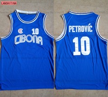 LANSHITINA #10 DRAZEN PETROVIC jerseys Cibona BASKETBALL JERSEY CROATIA Blue White Customize player name and number Stitched(China)