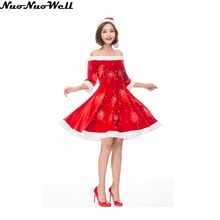 Cheap Christmas Costume For Adult Christmas Cosplay Hat Dress Suit Women Christmas Dress Sweet Miss Santa Dress with Hat(China)