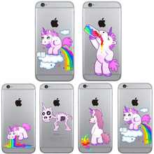 Nephy Mobile Phone Case Cover For Apple iPhone 6 6s iphone6 iphone6s Rainbow Unicorn Skin Ultrathin Silicon Funny Cartoon Casing