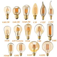 In stock C35 C32T C35T G40 T45 A19 ST45 ST64 G80 G95 G125, Gold Tint, LED Filament Bulb