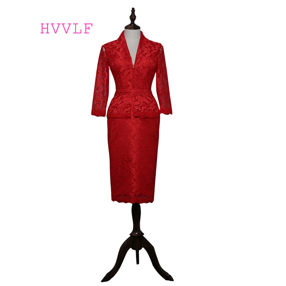 Dresses Wedding Mother-Of-The-Bride Knee-Length Plus-Size 3/4-Sleeves Sheath Lace Red title=