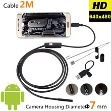 USB Snake Industrial Endoscope Android 7mm 2M Borescope Micro Camera Video Endoscope for Smartphone Inspection Flexible Camera(China)