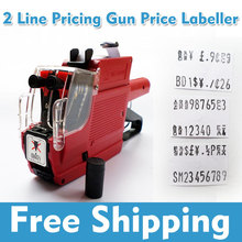 Free Shipping MX-6600 Dual-Line 10 digits price label Tag gun for super market, Price Labeller have Chinese fonts +1 Ink Roller