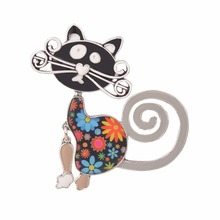 2017 New Fashion Enamel Women Girls Cat Crystal Costume Brooch Bags Animal Wedding Pins Accessory Brooches Gift Bijoux Jewelry