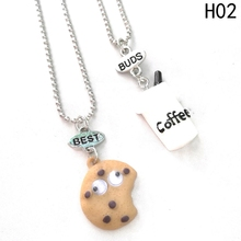 1 set Fashion Jewelry Best Buds Charm pendant Necklaces Cartoon Lovely Cookies Coffee modeling Friendship Necklace(China)