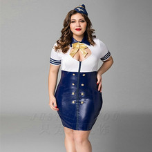 Buy High Quality Plus Big Size Navy Uniform Costumes Sexy Fantasia Quente Hot Erotic Airline Stewardess Baby Doll Latex PU dress
