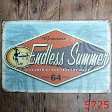 """Genuine Endless Summer"" Metal Tin signs Beach Poster Bedroom Pub Home Decor Craft Wall Painting J137"
