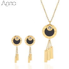 A&N Golden Round Charming Stainless Steel Jewelry Sets For Women Special Design Famous Jewelry Sets Noble Unique Jewelry Sets