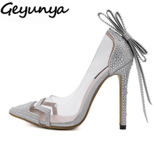 Geyunya women rhinestone crystal PVC Clear dress wedding bridal shoes bowtie butterfly knot sandals pumps silver woman high heel