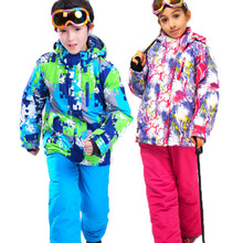 Girls or Boys Waterproof Ski Suit Kids Ski Jacket and Children Pants Snow Windproof Warmth Thickened Winter Clothes -30 Degree