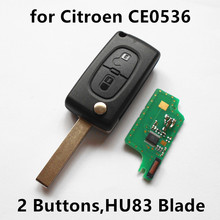 Flip Remote Key 2 Buttons 433MHz for CITROEN C2 C3 C4 C5 Berlingo Picasso with ID46 chip Car Control (CE0536 HU83 Blade)