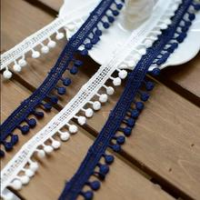 5 Meters Cream Blue DIY Clothing Bedding Accessories Ball Lace Cotton Lace Ribbon Hat Decoration Lace Trim Manufacturer