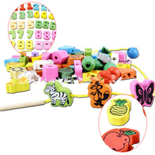 Wooden Animal Fruit Block stringing beaded Toys For Children Learning & Education Colorful Products