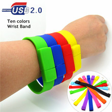Silicone Bracelet Wrist Band  USB Flash Drive 4GB 8GB 16GB 32GB USB 2.0 Pen Drive Stick U Disk  Pendrives 100% real capacity