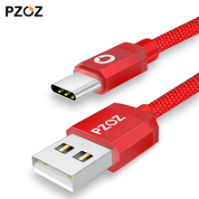 Pzoz type-c usb Braided Nylon Original cable usb c adapter mobile phone cables fast charging for Samsung s8 xiaomi mi5 OnePlus