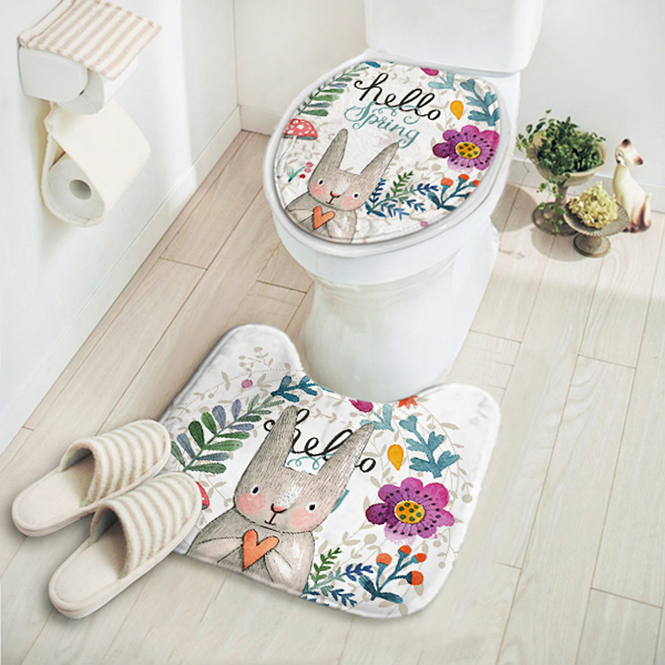 2pcs/set New Cut Cartoon Rabbit Animal Pattern Bathroom Set Carpet Absorbent Non-Slip Pedestal Rug Lid Toilet Cover Bath Mat(China)