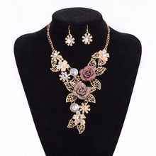 SPX7827 New Fashion Gem Stone Big Chunky Rose Flower Beads Maxi Collar Necklace Body african  jewellery plated gold