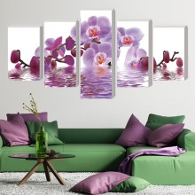 5 Pieces Frameless Canvas Photo Prints Purple Orchid Wall Art Picture Canvas Paintings Home Decor Wall Artwork Giclee Paintings