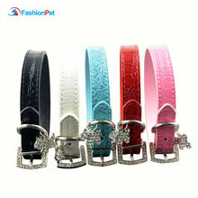 Brand New Dog Neck Strap PU Leather Dog Puppy Cat Pet Collar with Crystal Buckle Pendant