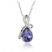 Spesial Sale Up To 50% Clearence Stock Fashion Crystal Pendant Necklace Silver For Women Wedding Engagement Jewelry(China)