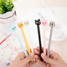 2PCS Creative Kawaii Cute Cat Gel Pen Jelly Color Roller Ball Pen Gift for Children School Suppliers Novelty Stationery(China)