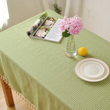 Table cloths for cloth christmas round fabric Clothes Cotton Green Color Lattice Tablecloth Home wedding Decoration Tables Cover(China)