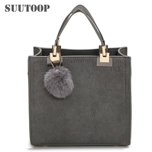 Hot sale handbag women casual tote bag female large shoulder messenger bags high quality PU leather handbag with fur ball bolsa(China)
