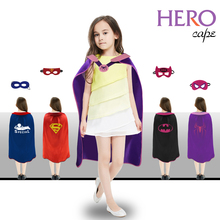 SPECIAL 70*70 cm Children cape mask party dress up bat-girl costumes Birthday fantasy cosplay Halloween red superman cape