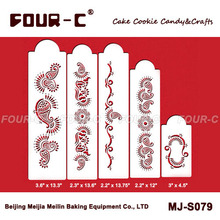 Mehndi cake 5 tier set,cake side decorating stencils,new arrivals sugar art tools ,