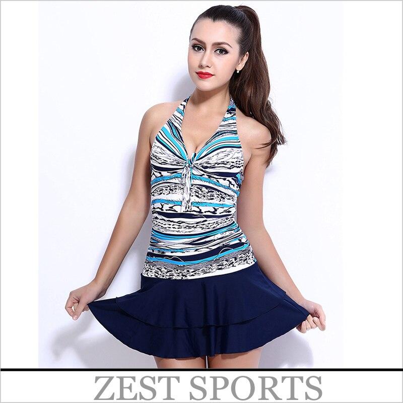2016 NEW Style,women/girl/Female  skirt type piece swimsuit, horizontal stripes pattern stitching, Hanging neck. 6502<br>
