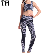 Autumn leopard Stretch Fitness Tacksuit Set Women Sportswear Croset Bra Tank Top + Leggings Two Piece Clothing Sets #160350(China)