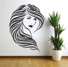 Free Shipping Newest Arrived Removable Wallpaper Vinyl Art Decor Hair Beauty Salon Barbershop Girl Wall Decals Woman Face Y-298(China)
