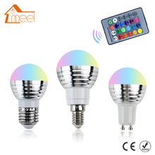 E27 LED RGB Bulb Lamp 220V 5W LED RGB Spot Light E14 110V LED RGB Spot Blub 85-265V GU10 Dimmable RGB lighting+IR Remote Control
