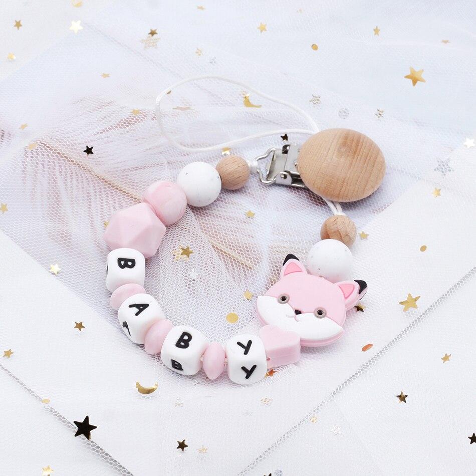 Mignon bébé personnalisé en bois perle Sucette Anneau de dentition Dummy Clip Holder 1pc ~ fille