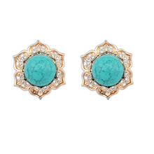 New Vintage costume jewellery gold rhinestone round Hollow Synthetic Stone stud earring wholesale nice gift for women girl