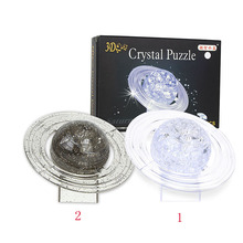3D Crystal Puzzle Jigsaw DIY Saturn Model Office Desk Toy Transparent  Children's Toy Educational Kids Toys Birthday Gift