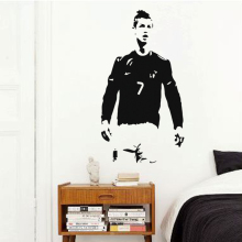 Art cheap vinyl home decoration famous Cristiano Ronaldo wall sticker house decor football player soccer star decals in bedroom