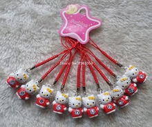 100 Pcs Cute Hello Kitty Mix Bell Mobile Cell Phone Charm Strap Party Gift