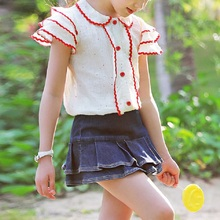 New 2017 Summer Girls Cute Jeans Skirt Children Pantskirt Kids Divided Skirt Toddler Clothes, 3-12Y, #2172(China)